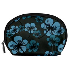Blue Flower Pattern Young Blue Black Accessory Pouches (large)
