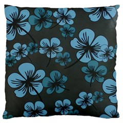 Blue Flower Pattern Young Blue Black Standard Flano Cushion Case (two Sides)