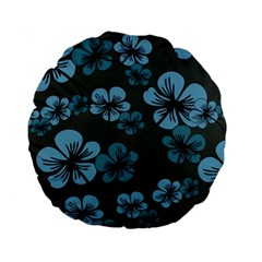 Blue Flower Pattern Young Blue Black Standard 15  Premium Flano Round Cushions