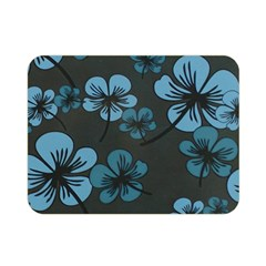 Blue Flower Pattern Young Blue Black Double Sided Flano Blanket (mini)