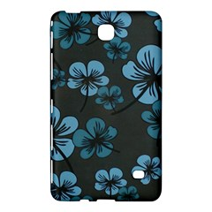 Blue Flower Pattern Young Blue Black Samsung Galaxy Tab 4 (8 ) Hardshell Case