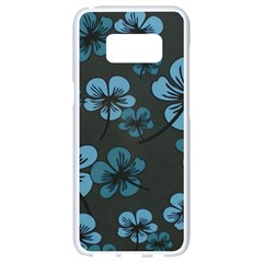 Blue Flower Pattern Young Blue Black Samsung Galaxy S8 White Seamless Case