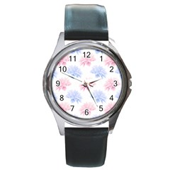 Blue And Pink Flowers Vector Clipart Round Metal Watch