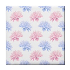 Blue And Pink Flowers Vector Clipart Tile Coasters