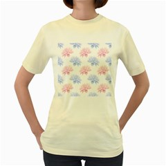 Blue And Pink Flowers Vector Clipart Women s Yellow T Shirt