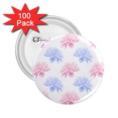 Blue And Pink Flowers Vector Clipart 2 25  Buttons (100 Pack)