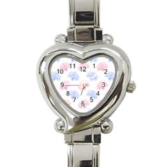 Blue And Pink Flowers Vector Clipart Heart Italian Charm Watch