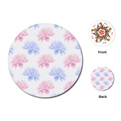 Blue And Pink Flowers Vector Clipart Playing Cards (round)