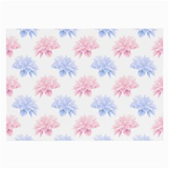 Blue And Pink Flowers Vector Clipart Large Glasses Cloth (2 Side)