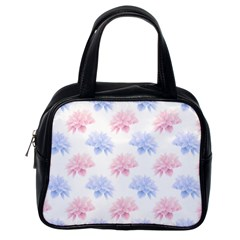 Blue And Pink Flowers Vector Clipart Classic Handbags (one Side)
