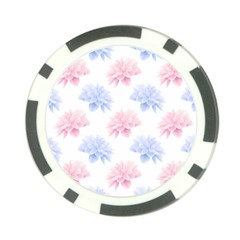 Blue And Pink Flowers Vector Clipart Poker Chip Card Guard (10 Pack)