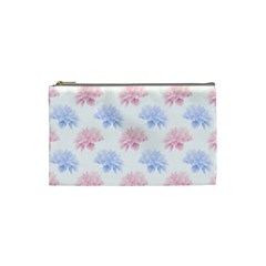 Blue And Pink Flowers Vector Clipart Cosmetic Bag (small)