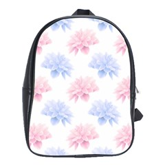 Blue And Pink Flowers Vector Clipart School Bag (large)