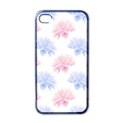 Blue And Pink Flowers Vector Clipart Apple Iphone 4 Case (black)
