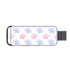 Blue And Pink Flowers Vector Clipart Portable Usb Flash (one Side)