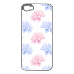 Blue And Pink Flowers Vector Clipart Apple Iphone 5 Case (silver)