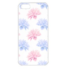Blue And Pink Flowers Vector Clipart Apple Iphone 5 Seamless Case (white)