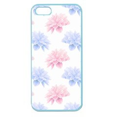 Blue And Pink Flowers Vector Clipart Apple Seamless Iphone 5 Case (color)
