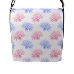 Blue And Pink Flowers Vector Clipart Flap Messenger Bag (l)
