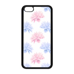 Blue And Pink Flowers Vector Clipart Apple Iphone 5c Seamless Case (black)