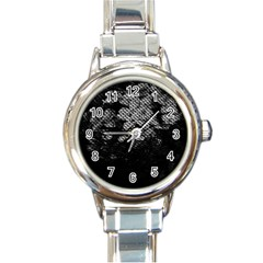 Black And White Dark Flowers Round Italian Charm Watch