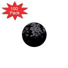 Black And White Dark Flowers 1  Mini Buttons (100 Pack)