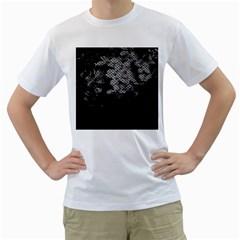 Black And White Dark Flowers Men s T Shirt (white) (two Sided)