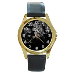 Black And White Dark Flowers Round Gold Metal Watch