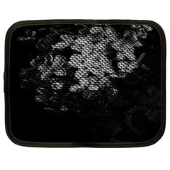 Black And White Dark Flowers Netbook Case (large)