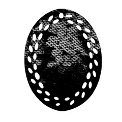 Black And White Dark Flowers Oval Filigree Ornament (two Sides)