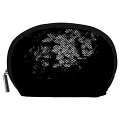 Black And White Dark Flowers Accessory Pouches (large)