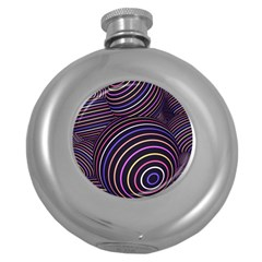 Abtract Colorful Spheres Round Hip Flask (5 Oz)