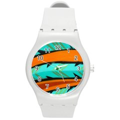 Abstract Art Artistic Round Plastic Sport Watch (m)