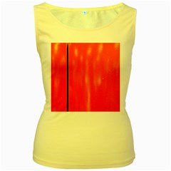 Abstract Orange Women s Yellow Tank Top