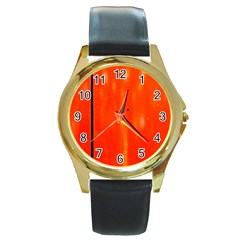 Abstract Orange Round Gold Metal Watch