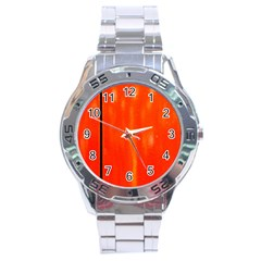 Abstract Orange Stainless Steel Analogue Watch by Modern2018