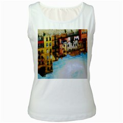 Architecture Art Blue Women s White Tank Top