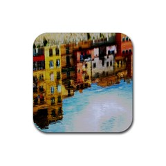 Architecture Art Blue Rubber Coaster (square)  by Modern2018
