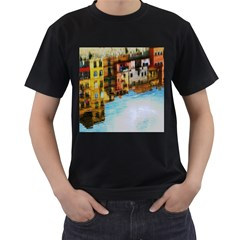 Architecture Art Blue Men s T Shirt (black) (two Sided)