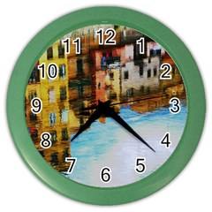 Architecture Art Blue Color Wall Clocks
