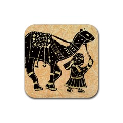 Antique Apparel Art Rubber Square Coaster (4 Pack)