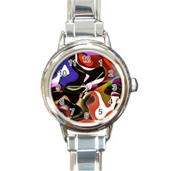 Abstract Full Colour Background Round Italian Charm Watch