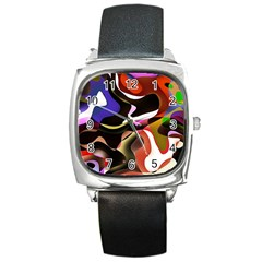 Abstract Full Colour Background Square Metal Watch
