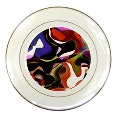 Abstract Full Colour Background Porcelain Plates