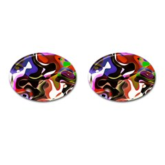 Abstract Full Colour Background Cufflinks (oval)