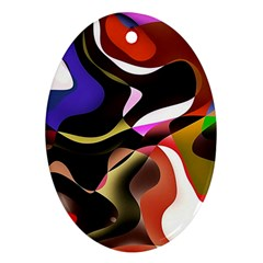 Abstract Full Colour Background Oval Ornament (two Sides)