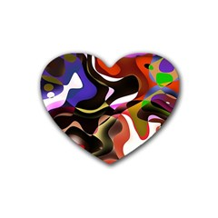 Abstract Full Colour Background Rubber Coaster (heart)