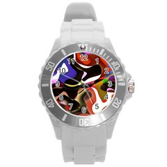 Abstract Full Colour Background Round Plastic Sport Watch (l)