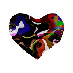 Abstract Full Colour Background Standard 16  Premium Heart Shape Cushions