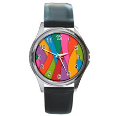 Abstract Background Colrful Round Metal Watch